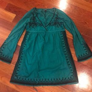 Lucky Brand Emerald Dress, with black embroidery